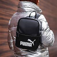 Женский небольшой черный рюкзак Puma, пума. Белый лого. Кожзам, фото 2