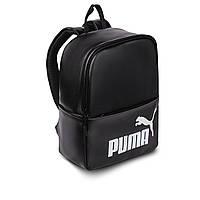Женский небольшой черный рюкзак Puma, пума. Белый лого. Кожзам, фото 3