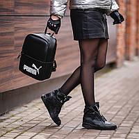 Женский небольшой черный рюкзак Puma, пума. Белый лого. Кожзам, фото 4