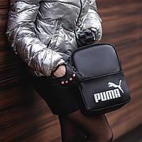 Женский небольшой черный рюкзак Puma, пума. Белый лого. Кожзам, фото 5