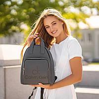 Стильный кожаный женский рюкзак. Серый. Сумка, фото 2