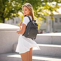 Стильный кожаный женский рюкзак. Серый. Сумка, фото 3