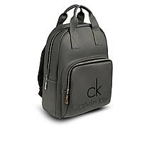 Стильный кожаный женский рюкзак. Серый. Сумка, фото 4