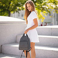 Стильный кожаный женский рюкзак. Серый. Сумка, фото 5