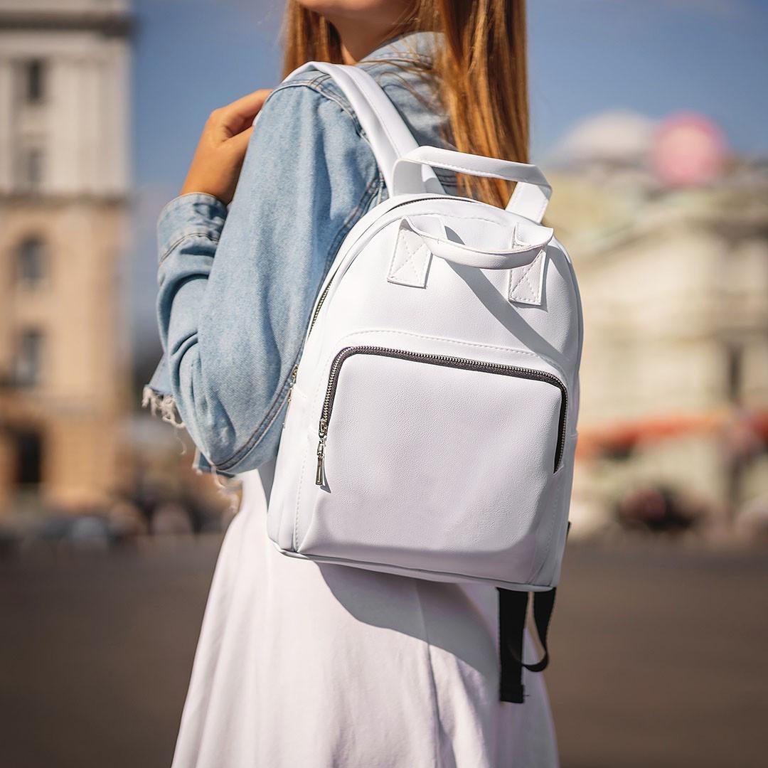 Женский белый рюкзак, сумка из кожи PU. Стильный и удобный