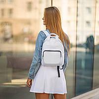 Жіночий білий рюкзак, сумка зі шкіри PU. Стильний та зручний, фото 2