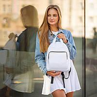 Жіночий білий рюкзак, сумка зі шкіри PU. Стильний та зручний, фото 3