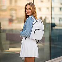 Жіночий білий рюкзак, сумка зі шкіри PU. Стильний та зручний, фото 4