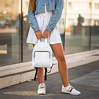 Женский белый рюкзак, сумка из кожи PU. Стильный и удобный, фото 6