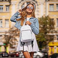 Жіночий білий рюкзак, сумка зі шкіри PU. Стильний та зручний, фото 7