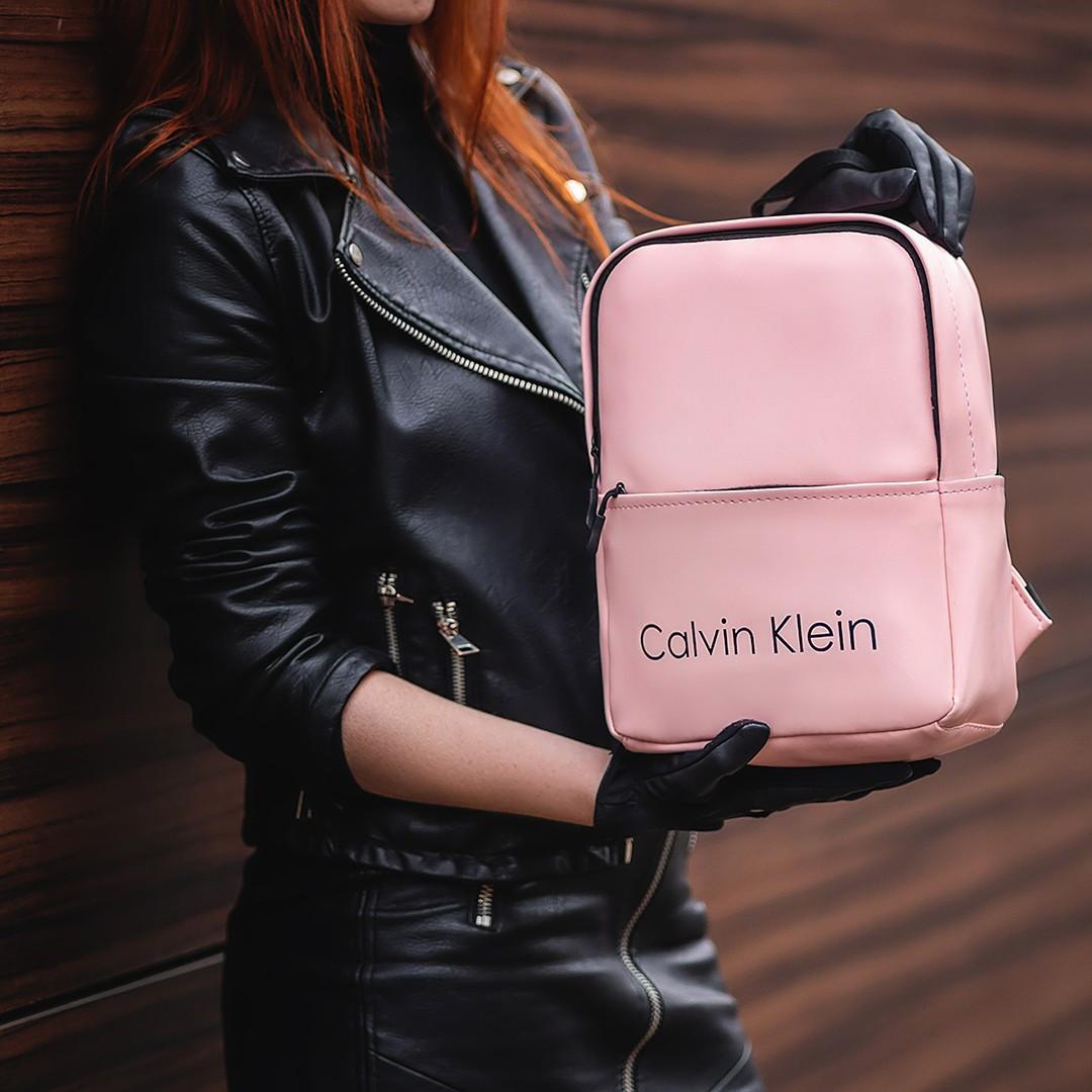 Розовый женский стильный рюкзак. Кожзам