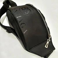 Стильна шкіряна чорна поясна сумка, бананка Balenciaga., фото 2