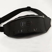 Стильна шкіряна чорна поясна сумка, бананка Balenciaga., фото 3