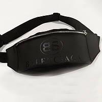 Стильная кожаная черная поясная сумка, бананка Balenciaga., фото 3