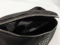 Стильная кожаная черная поясная сумка, бананка Balenciaga., фото 4