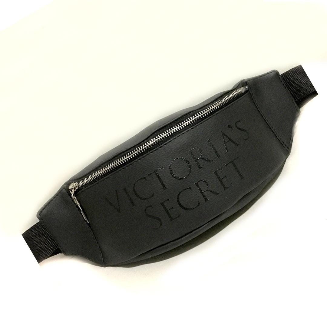 Стильна шкіряна чорна поясна сумка, бананка Victoria's a Secret, вікторія сікрет.