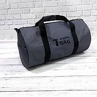 Спортивна сумка бочонок Triumph Bag. Для тренувань, подорожей. Сіра, фото 2