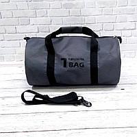 Спортивна сумка бочонок Triumph Bag. Для тренувань, подорожей. Сіра, фото 7