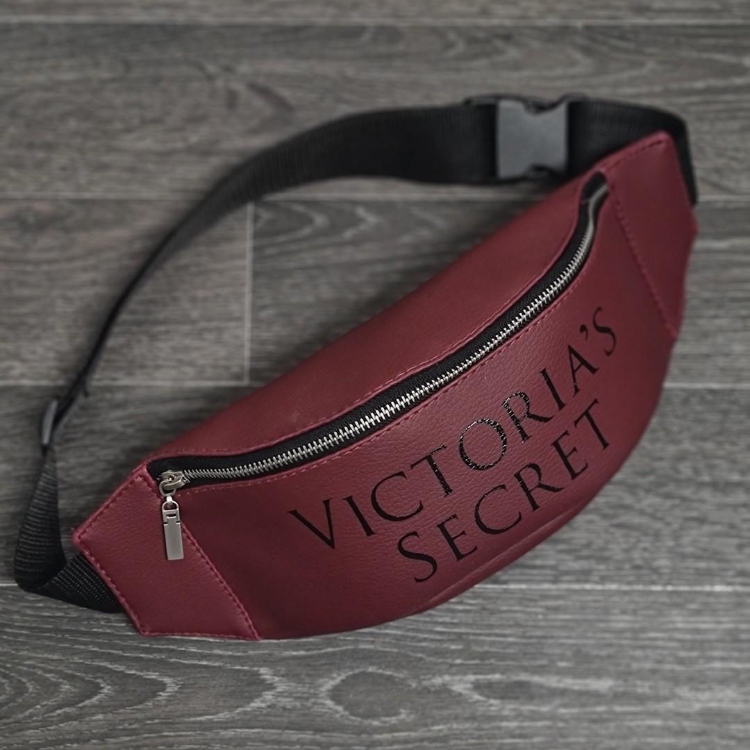Стильна шкіряна бордова поясна сумка, бананка вікторія сікрет. Victoria's Secret.