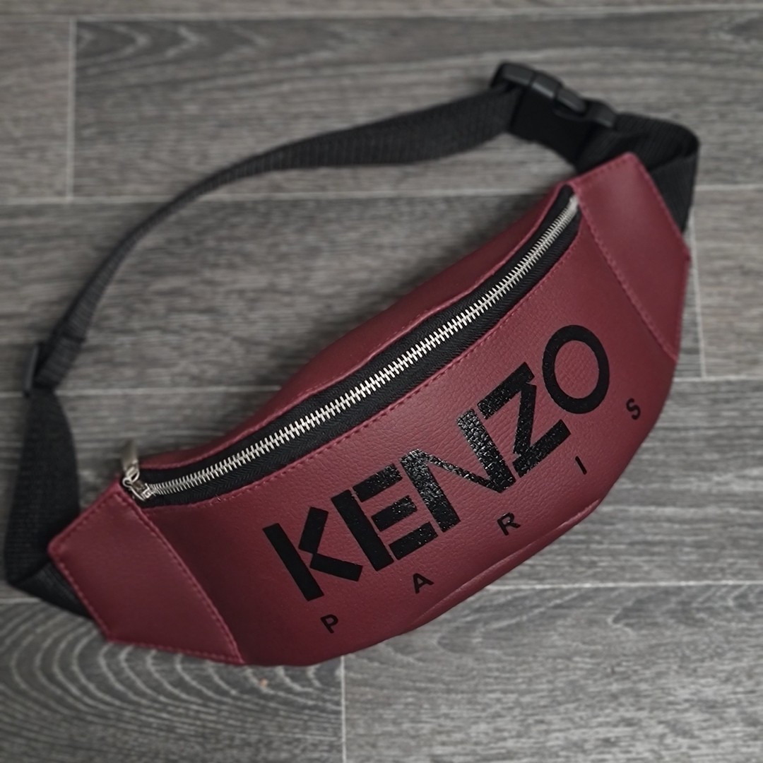 Стильна шкіряна бордова поясна сумка, бананка кензо, KENZO.
