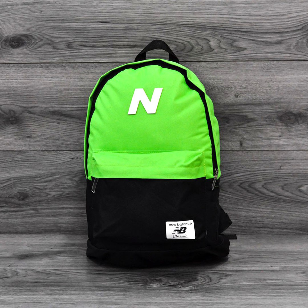 Молодежный городской, спортивный рюкзак, портфель New Balance, нью бэланс. Салатовый с черным