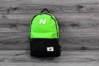 Молодежный городской, спортивный рюкзак, портфель New Balance, нью бэланс. Салатовый с черным, фото 2