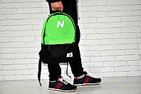 Молодежный городской, спортивный рюкзак, портфель New Balance, нью бэланс. Салатовый с черным, фото 3