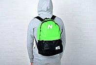 Молодежный городской, спортивный рюкзак, портфель New Balance, нью бэланс. Салатовый с черным, фото 4