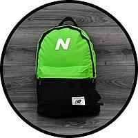 Молодежный городской, спортивный рюкзак, портфель New Balance, нью бэланс. Салатовый с черным, фото 5