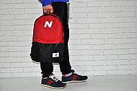 Молодежный городской, спортивный рюкзак, портфель New Balance, нью бэланс. Красный с черным, фото 2