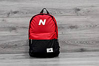 Молодежный городской, спортивный рюкзак, портфель New Balance, нью бэланс. Красный с черным, фото 3