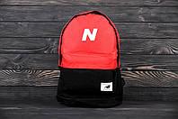 Молодежный городской, спортивный рюкзак, портфель New Balance, нью бэланс. Красный с черным, фото 4