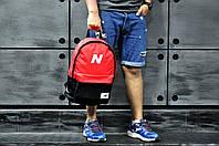 Молодежный городской, спортивный рюкзак, портфель New Balance, нью бэланс. Красный с черным, фото 6