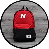 Молодежный городской, спортивный рюкзак, портфель New Balance, нью бэланс. Красный с черным, фото 7