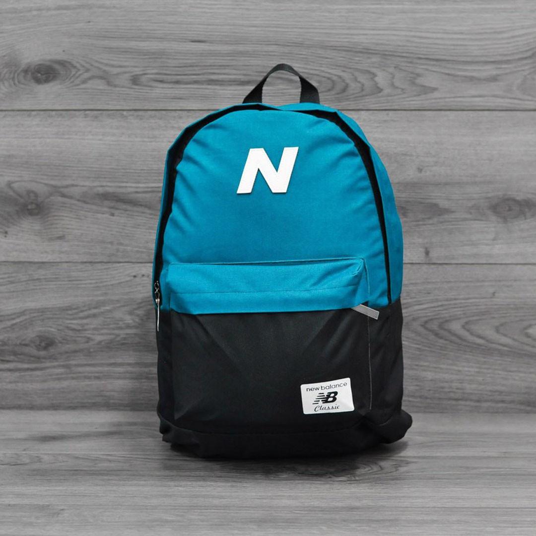 Молодежный городской, спортивный рюкзак, портфель New Balance, нью бэланс. Голубой с черным