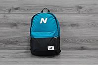 Молодежный городской, спортивный рюкзак, портфель New Balance, нью бэланс. Голубой с черным, фото 2