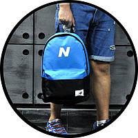 Молодежный городской, спортивный рюкзак, портфель New Balance, нью бэланс. Голубой с черным, фото 5