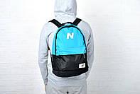 Молодежный городской, спортивный рюкзак, портфель New Balance, нью бэланс. Голубой с черным, фото 6