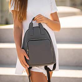 Красивий Жіночий шкіряний Сірий рюкзак. Сумка
