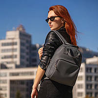 Красивий Жіночий шкіряний Сірий рюкзак. Сумка, фото 2