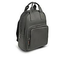 Красивий Жіночий шкіряний Сірий рюкзак. Сумка, фото 4