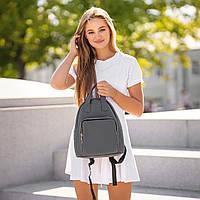 Красивый Женский кожаный Серый рюкзак. Сумка, фото 5