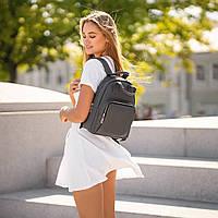 Красивий Жіночий шкіряний Сірий рюкзак. Сумка, фото 8