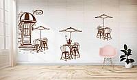 Интерьерная наклейка декор кофейни Сказочная кофейня (стикер столики кофейник кофейный декор кофе) матовая, фото 1