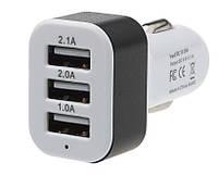 Автомобильное зарядное устройство для мобильных устройств 5V 3USB (2,1/2,0/1A)