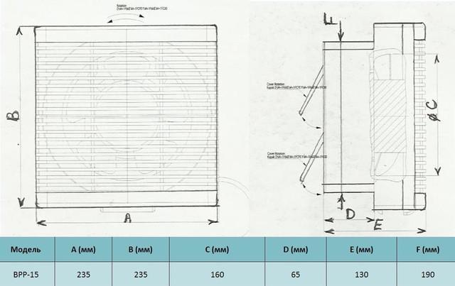 Габариты бытового реверсивного вентилятора bahcivan bpp 15 купить в украине