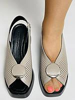 Evromoda. Туреччина. Жіночі босоніжки на середній танкетці. Натуральна шкіра. Туреччина. Розмір 36 37 38 39 40, фото 5
