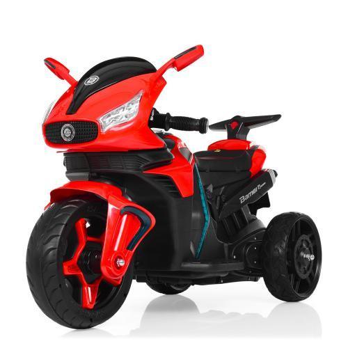 Мотоцикл M 3965EL-3 2мотора25W, 2аккум6V4.5, MP3,USB, муз,шкір.сід,колесаEVA, EVA, червон