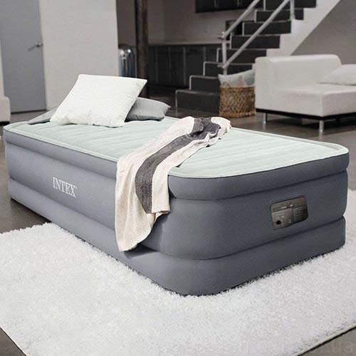 Надувна велюрова ліжко Intex 64902, вбудований насос, оливково-сірий