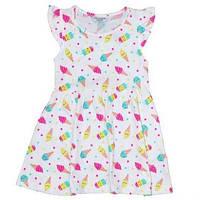 Платье белое с принтом Мороженое для девочки 3/4 года